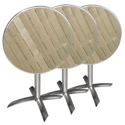 TABLE RONDE PLIANTE - ALUMINIUM FRENE