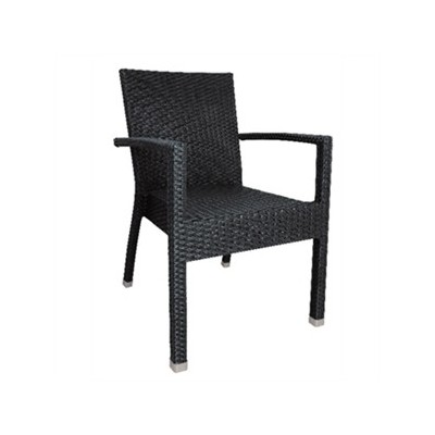 Lot de 4 chaise-fauteuil style rotin anthracite