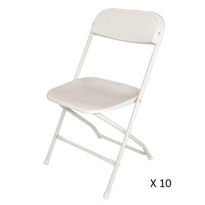Lot de 10 chaises pliante blanche