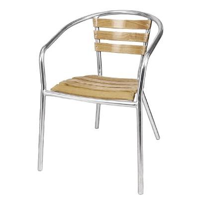 Lot de 4 fauteuils en frêne et aluminium