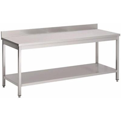 Table inox L1600 avec étagère et dosseret