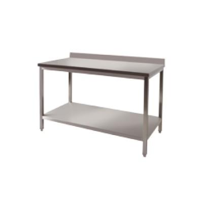 Table adossée+ étagère basse inox P800