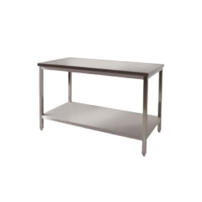 Table centrale + étagère basse inox P800