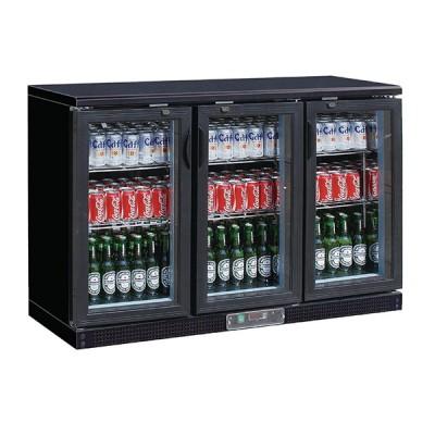 Vitrine arrière bar réfrigéré noir 3 portes