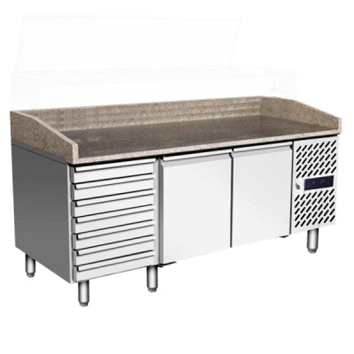 Table à pizza 400x600 2 portes + tiroirs