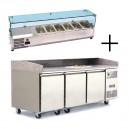 Table à pizza 400x600 3 portes + vitrine à ingrédients vitrée