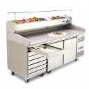 Table à pizza 400x600 2 portes et 7 tiroirs à pâtons + vitrine à ingrédients vitrée