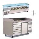 Table à pizza 400x600 1 porte et 7 tiroirs à pâtons + vitrine à ingrédients vitrée