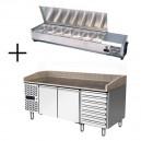 Table à pizza 400x600 2 portes et 7 tiroirs à pâtons + vitrine à ingrédients inox