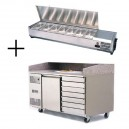 Table à pizza 400x600 1 porte et 7 tiroirs à pâtons + vitrine à ingrédients inox
