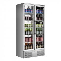 Réfrigérateur de bar vitré inox 2 portes